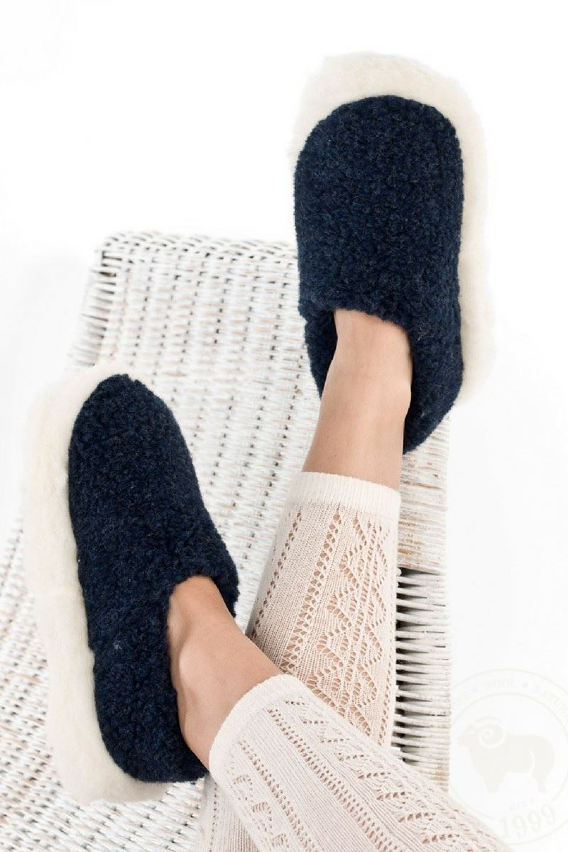 Irish Wool Slippers - Marine Blue Wool Slippers Yoko