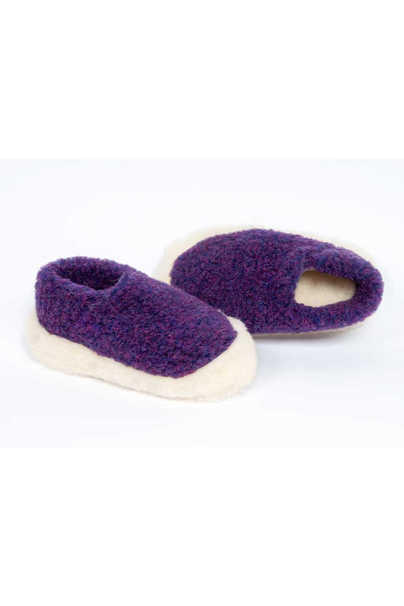 Irish Wool Slippers - Violet Wool Slippers Yoko