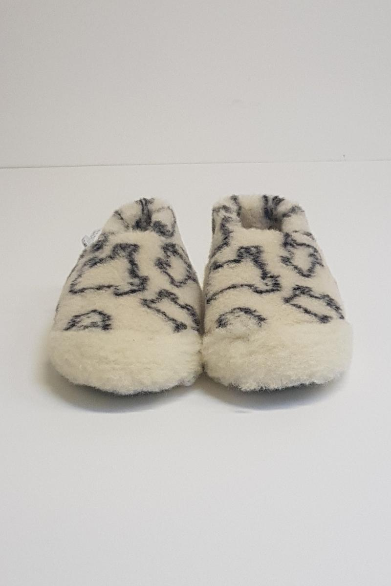 Irish Wool Slippers - Sheep Pattern Wool Slippers Yoko