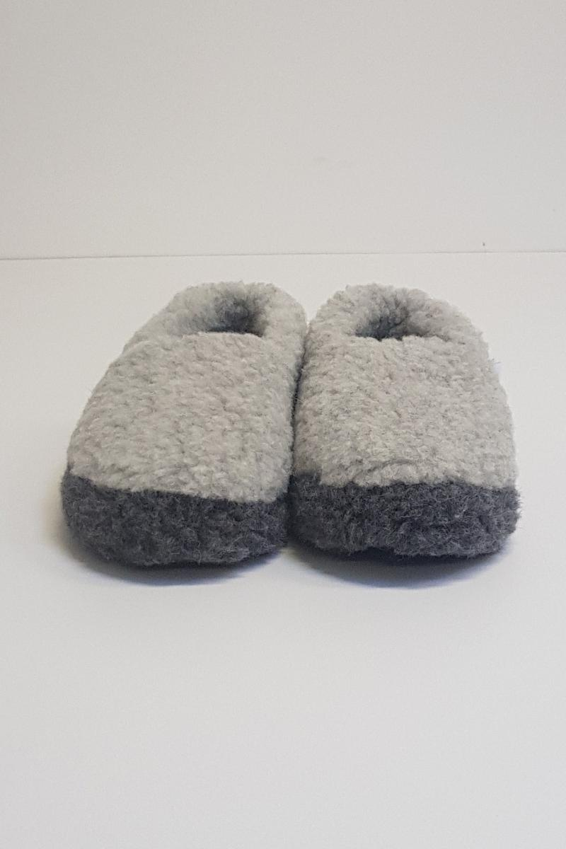 Irish Wool Slippers - Two Tone Grey Wool Slippers Yoko