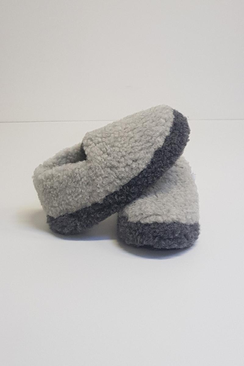 Irish Wool Slippers - Grey Two Tone - Lee Valley Ireland - 1