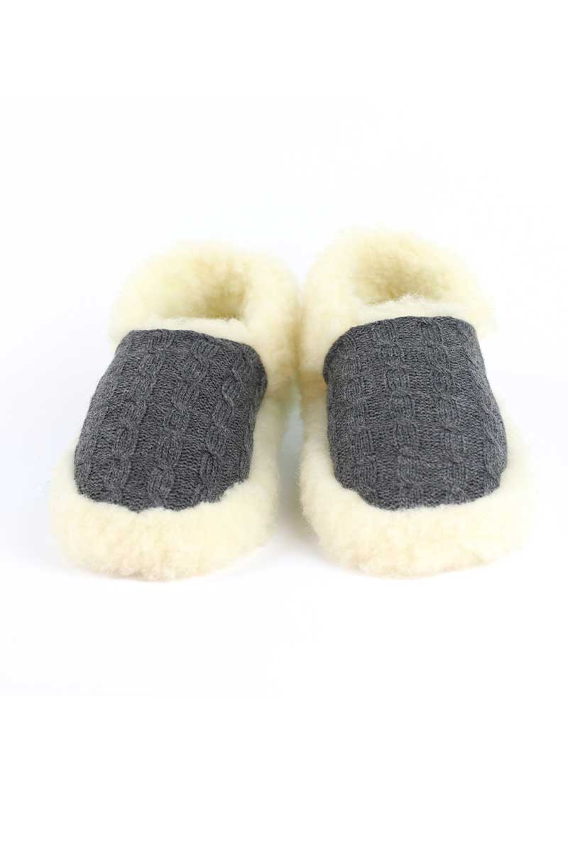 Aran Wool Slippers - Grey Wool Slippers Yoko