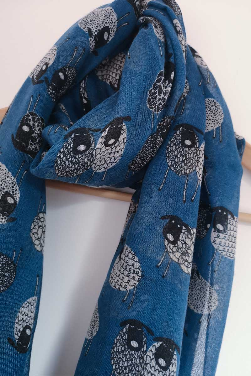 Sketched Sheep Scarf- Blue Scarf Erin Knitwear