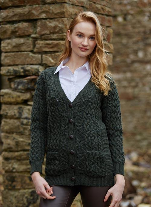 Wool Boyfriend Cardigan Cashel - Pine Green - Lee Valley Ireland