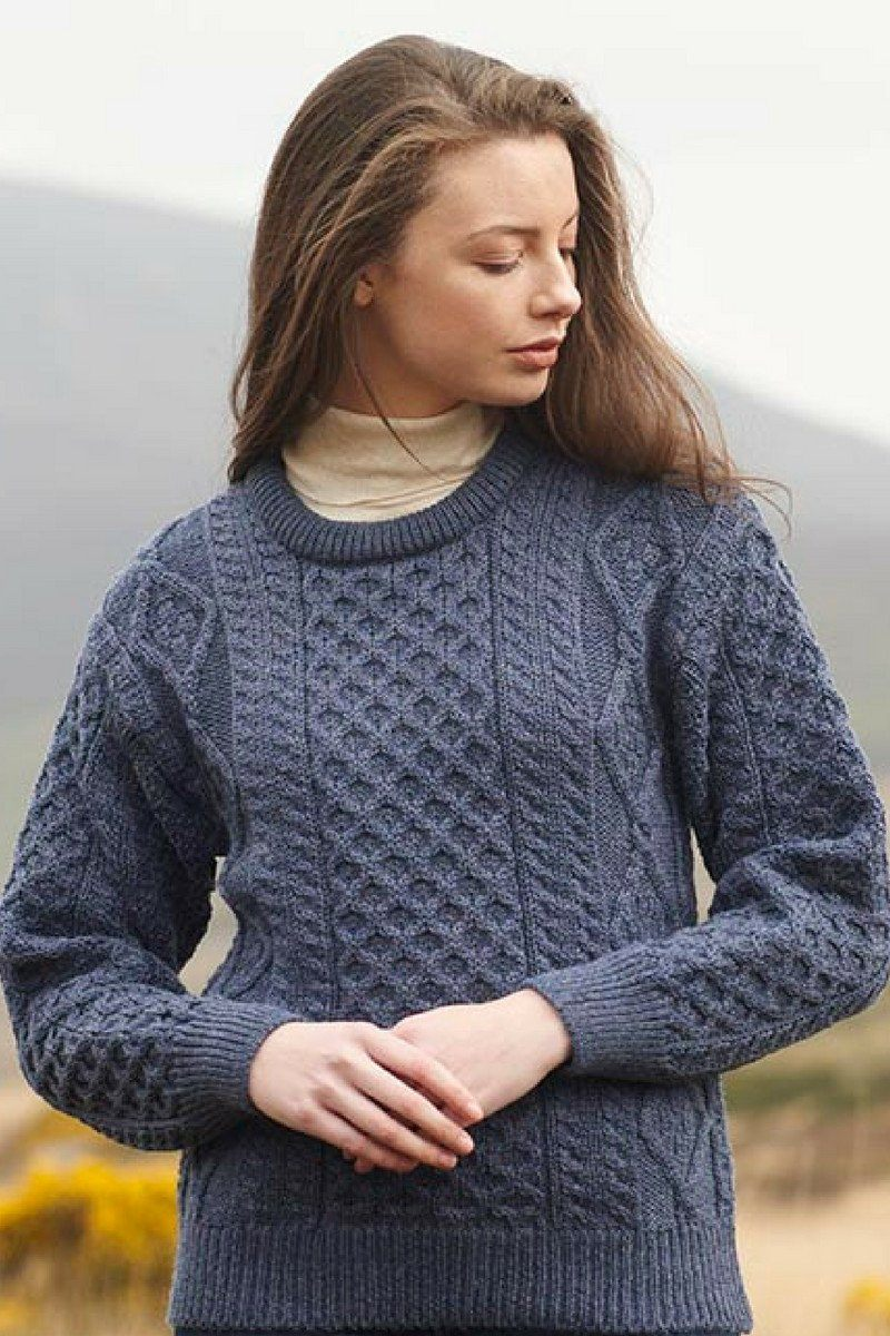 Aran Ladies Crew Neck Sweater (C1347) - Denim Blue - Lee Valley Ireland - 1