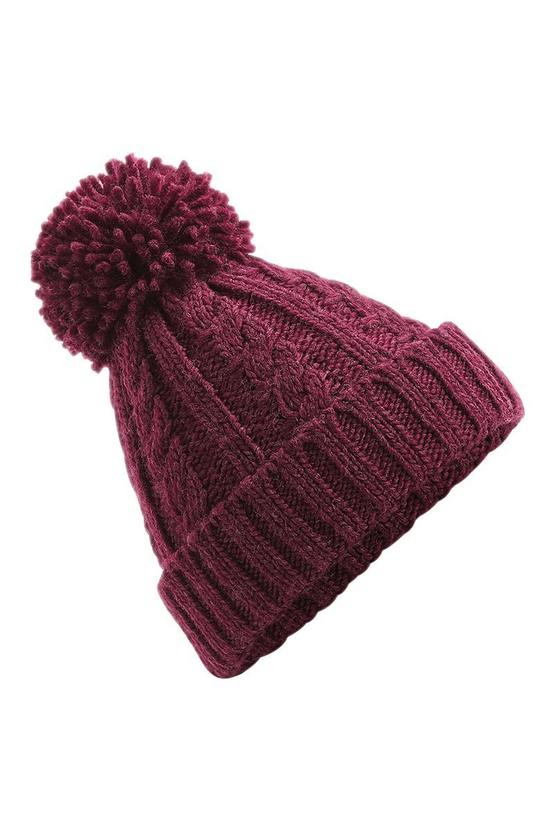 Cable Knit Beanie Hat (BC480) Ral Ralawise One Size Burgundy