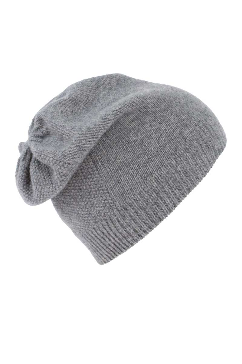 Wool Cashmere Beanie Hat - Light Grey Caps Yoko
