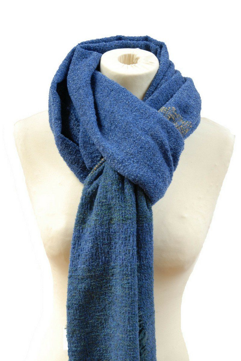 Celtic Wool Stole - Cobalt Blue Knitwear Lee Valley Ireland