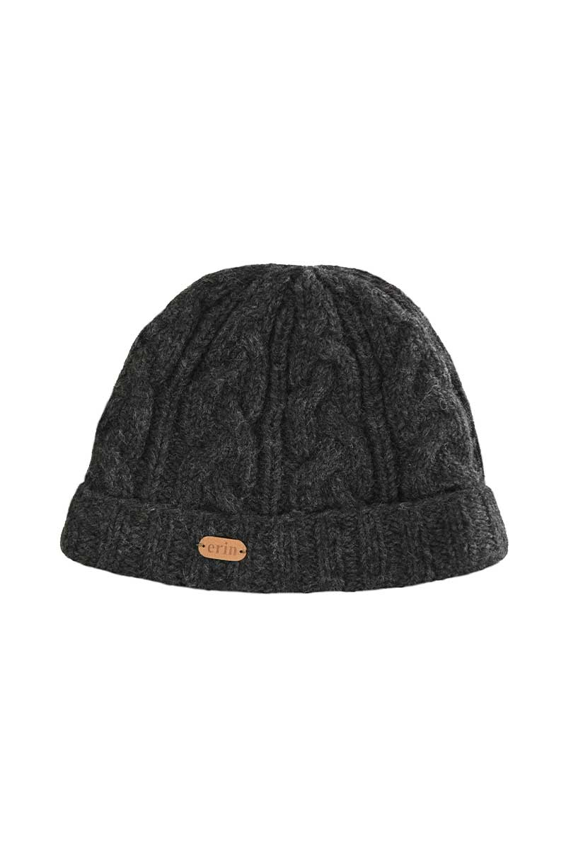 Erin Cable Turn Up Hat - Charcoal Wool Hat Erin Knitwear