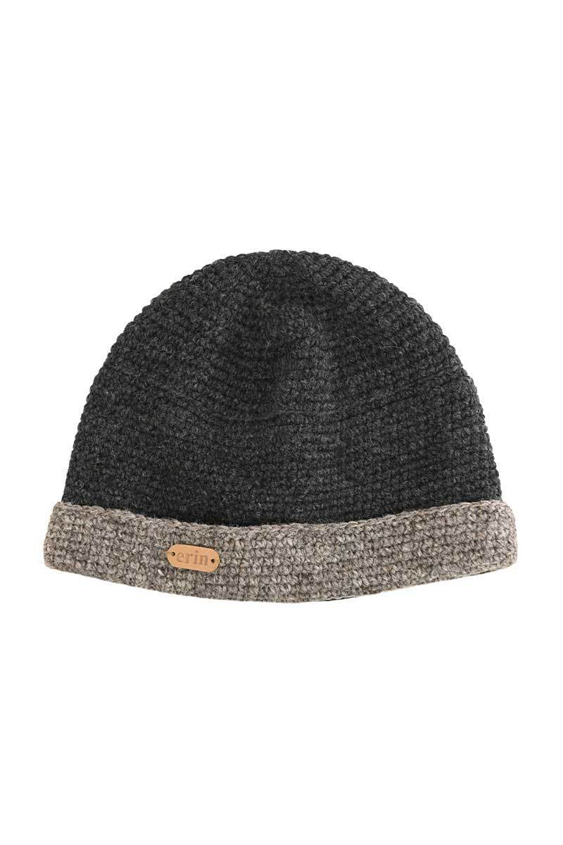 Erin Crochet Turn Up Hat - Charcoal Wool Hat Erin Knitwear