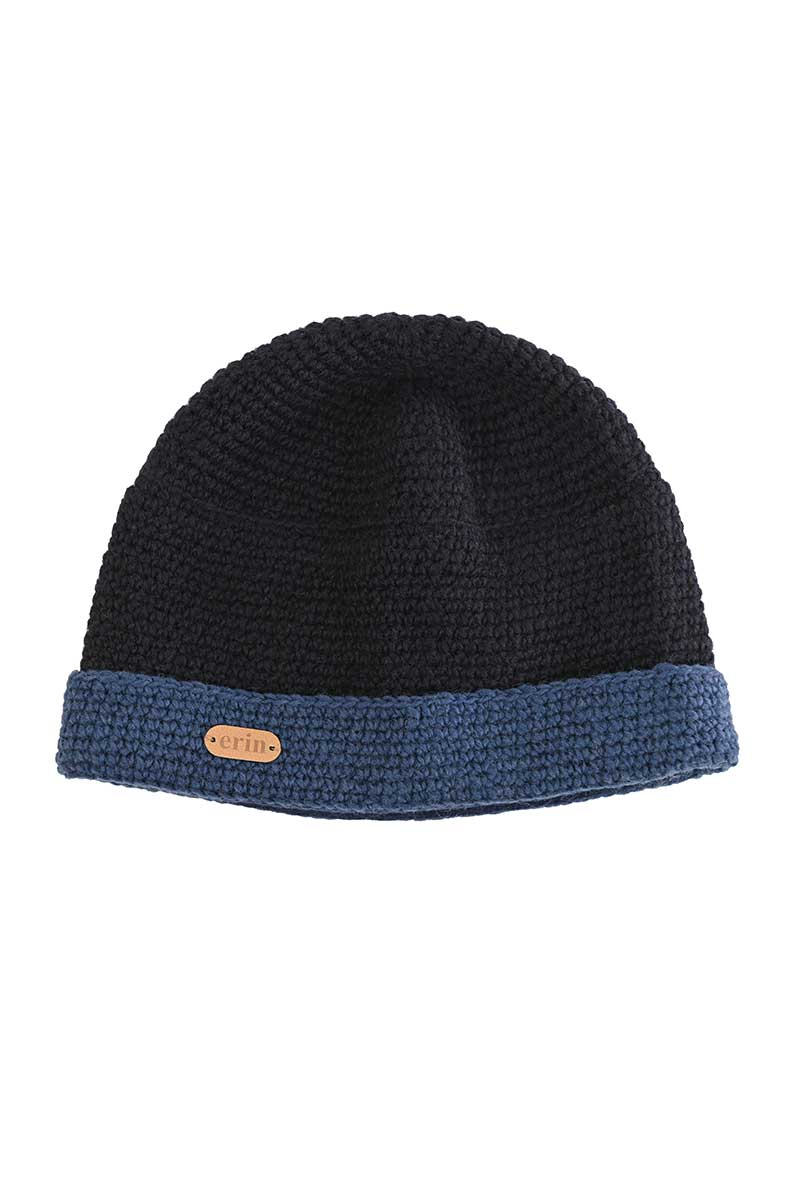 Erin Crochet Turn Up Hat-Blue 2