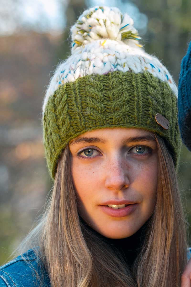 Erin Uneven Wool Bobble Hat - Green Wool Hat Erin Knitwear
