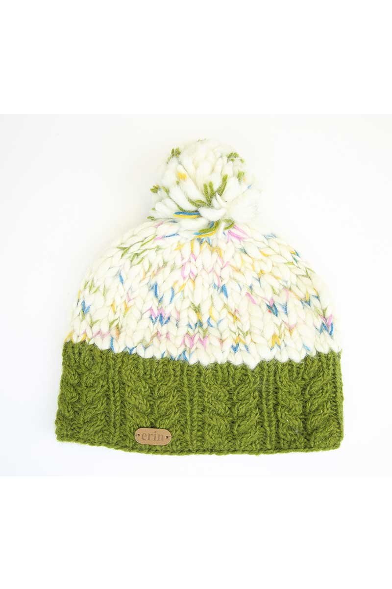 Erin Uneven Wool Bobble Hat - Green 2
