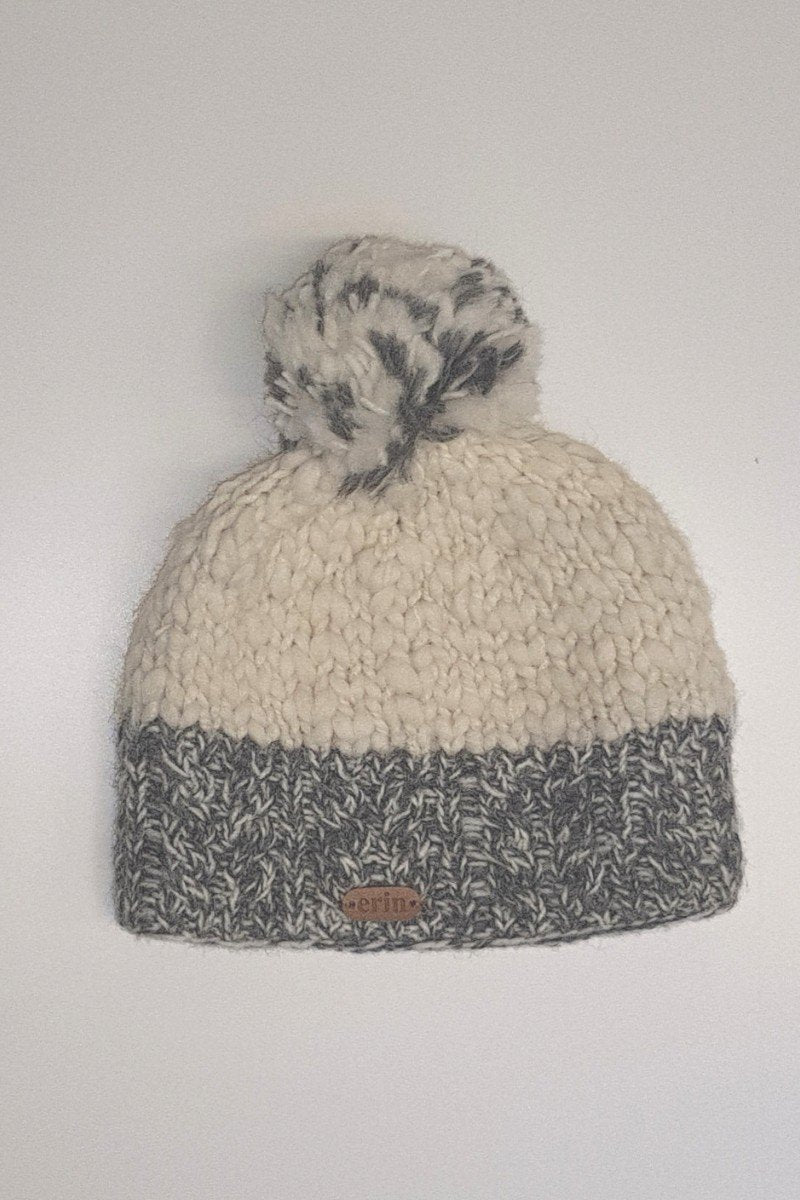 Erin Irish Wool Bobble Hat - Grey - Lee Valley Ireland - 3