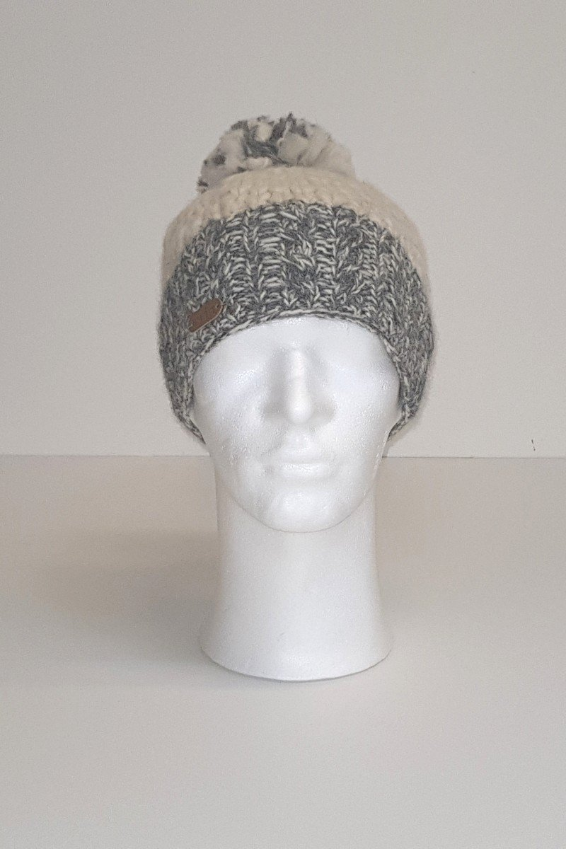 Erin Irish Wool Bobble Hat - Grey/White Caps Erin Knitwear