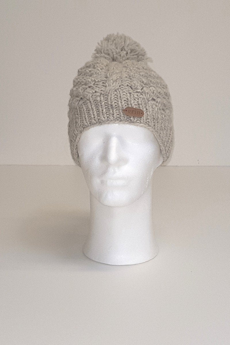 Erin Irish Wool Bobble Hat - Blackberry Oatmeal Caps Erin Knitwear