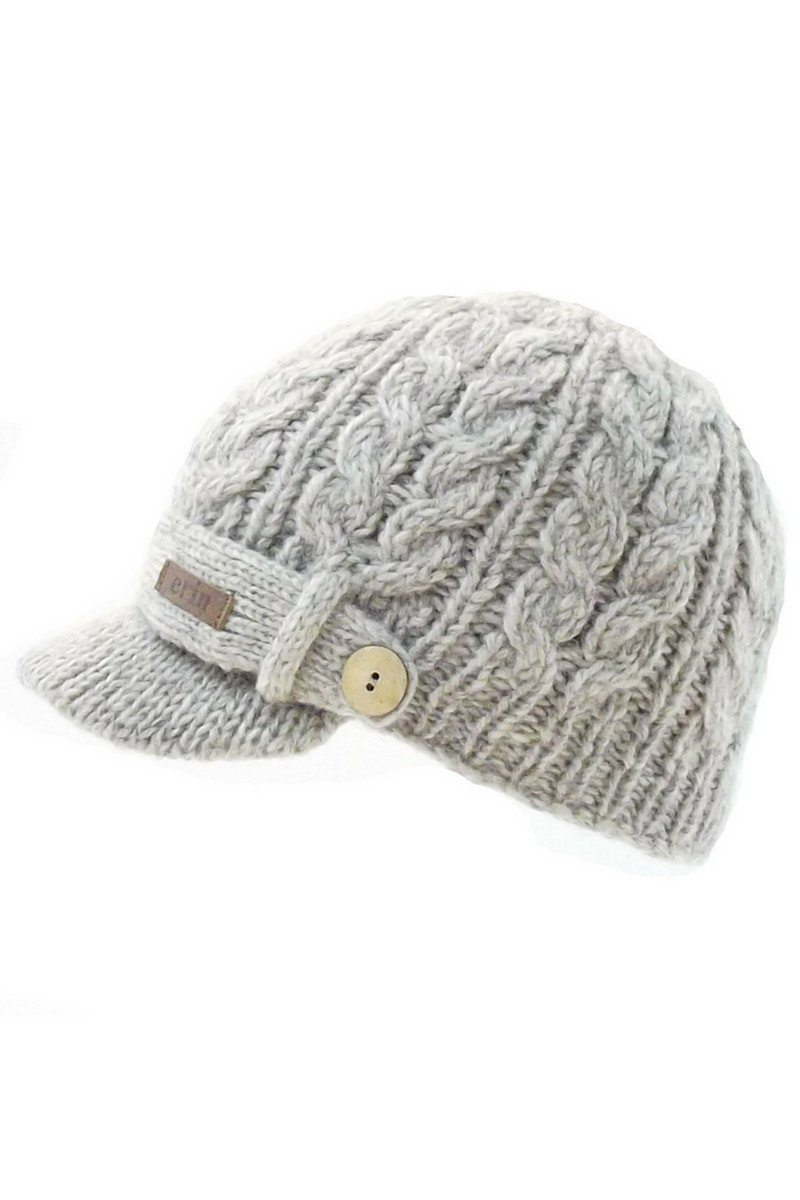 Aran Cable Peak Cap - Oatmeal - Lee Valley Ireland - 2