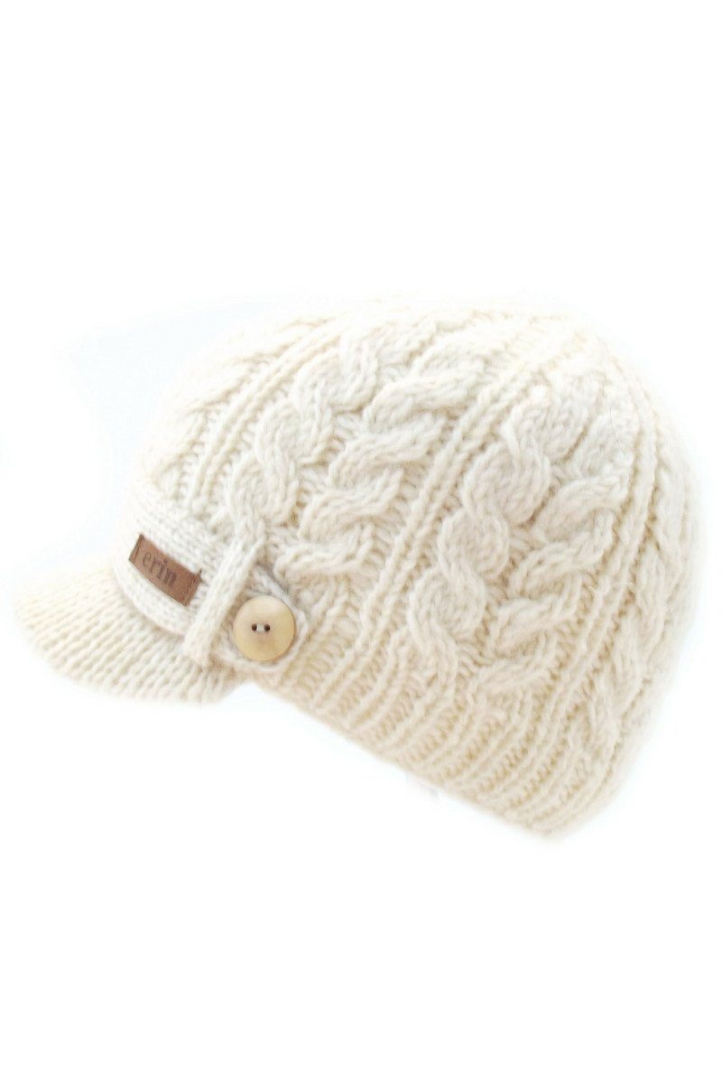 Aran Cable Peak Cap - White - Lee Valley Ireland - 1