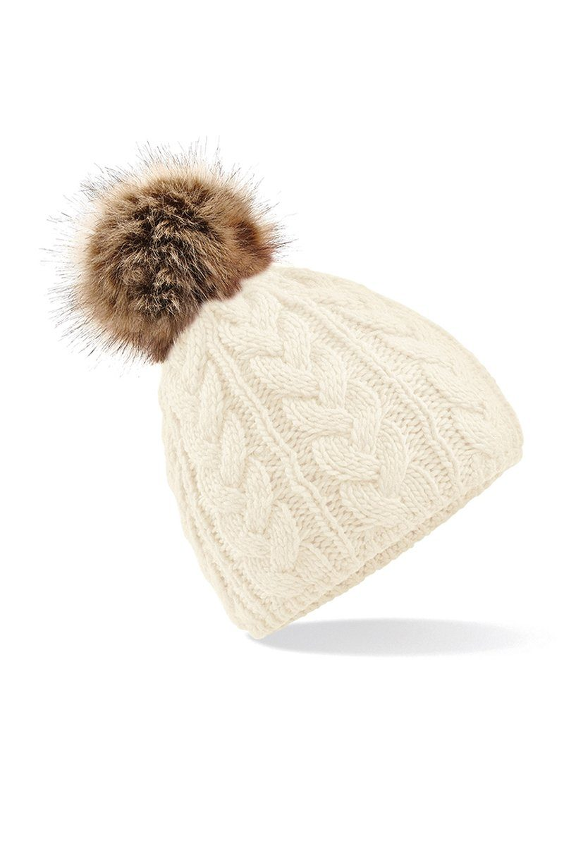 Fur Pom Pom Cable Beanie (BC410) Christmas Ralawise Cream