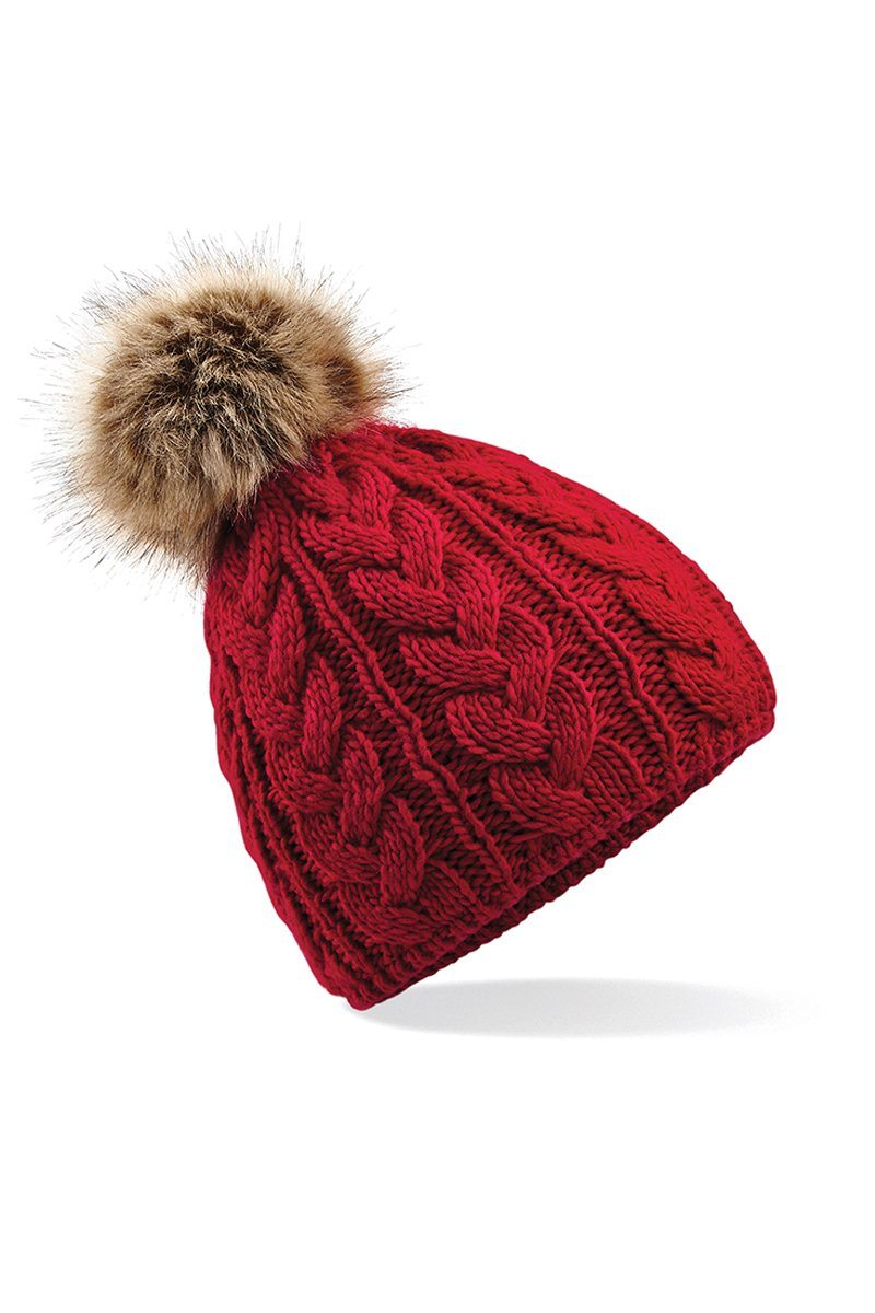 Fur Pom Pom Cable Beanie (BC410) Christmas Ralawise Red