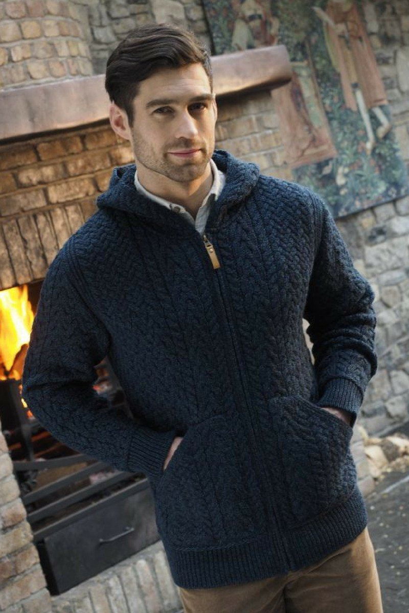 Aran Hooded Men's Cardigan (HD4821) - Sherwood Blue Westend