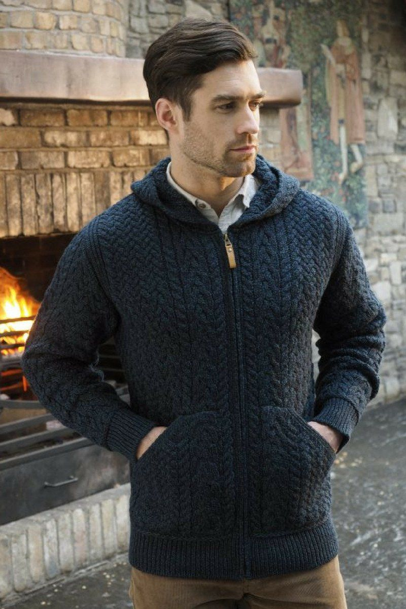 Aran Hooded Cardigan (HD4821) - Navy - Lee Valley Ireland - 2