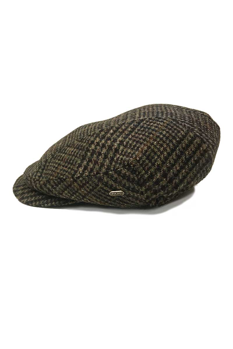 Kerry Tweed Flat Cap - Brown Herringbone Caps Mucros
