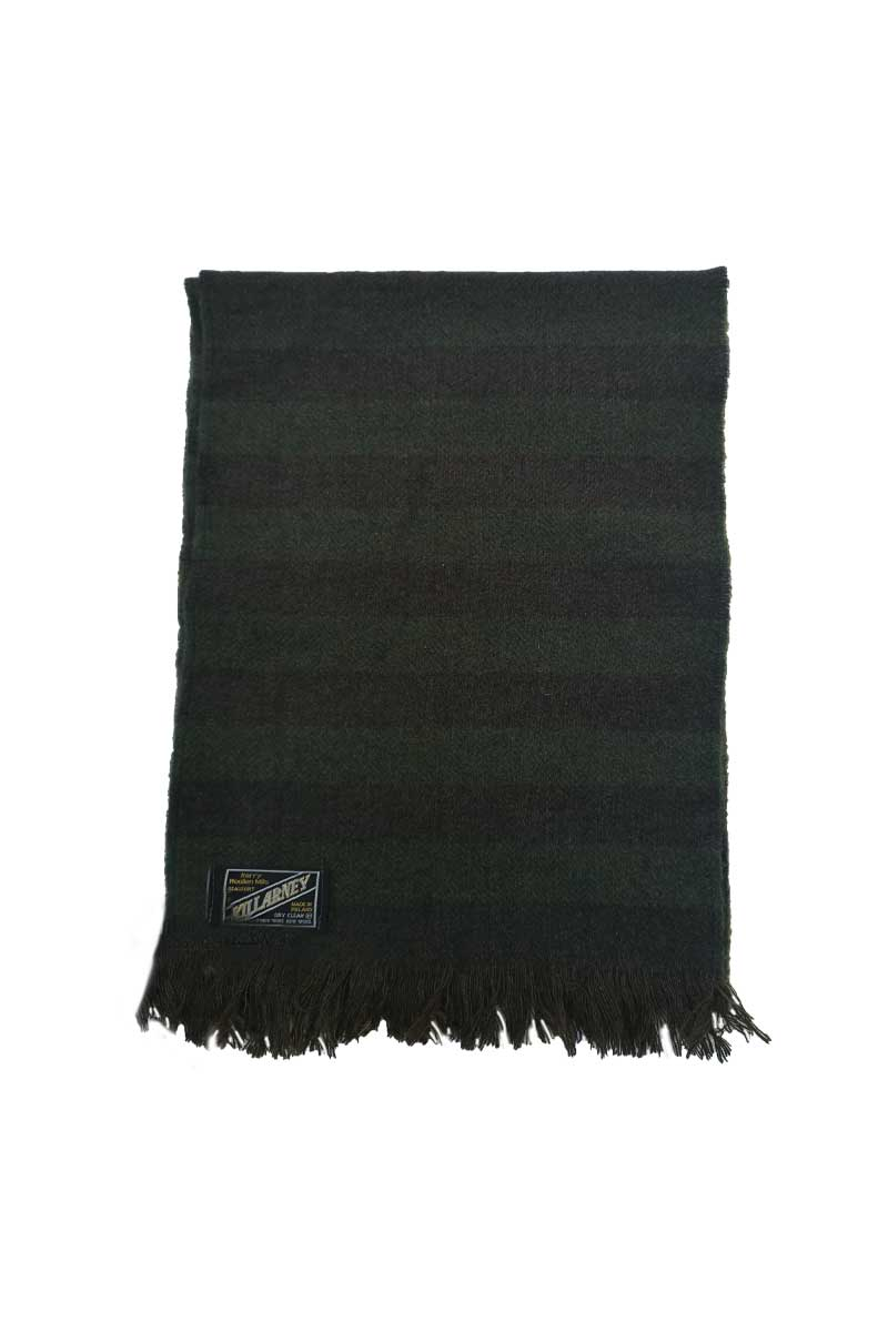 Kerry Mens Wool Scarf - Green Stripe Herringbone Scarf kerry woolen mills