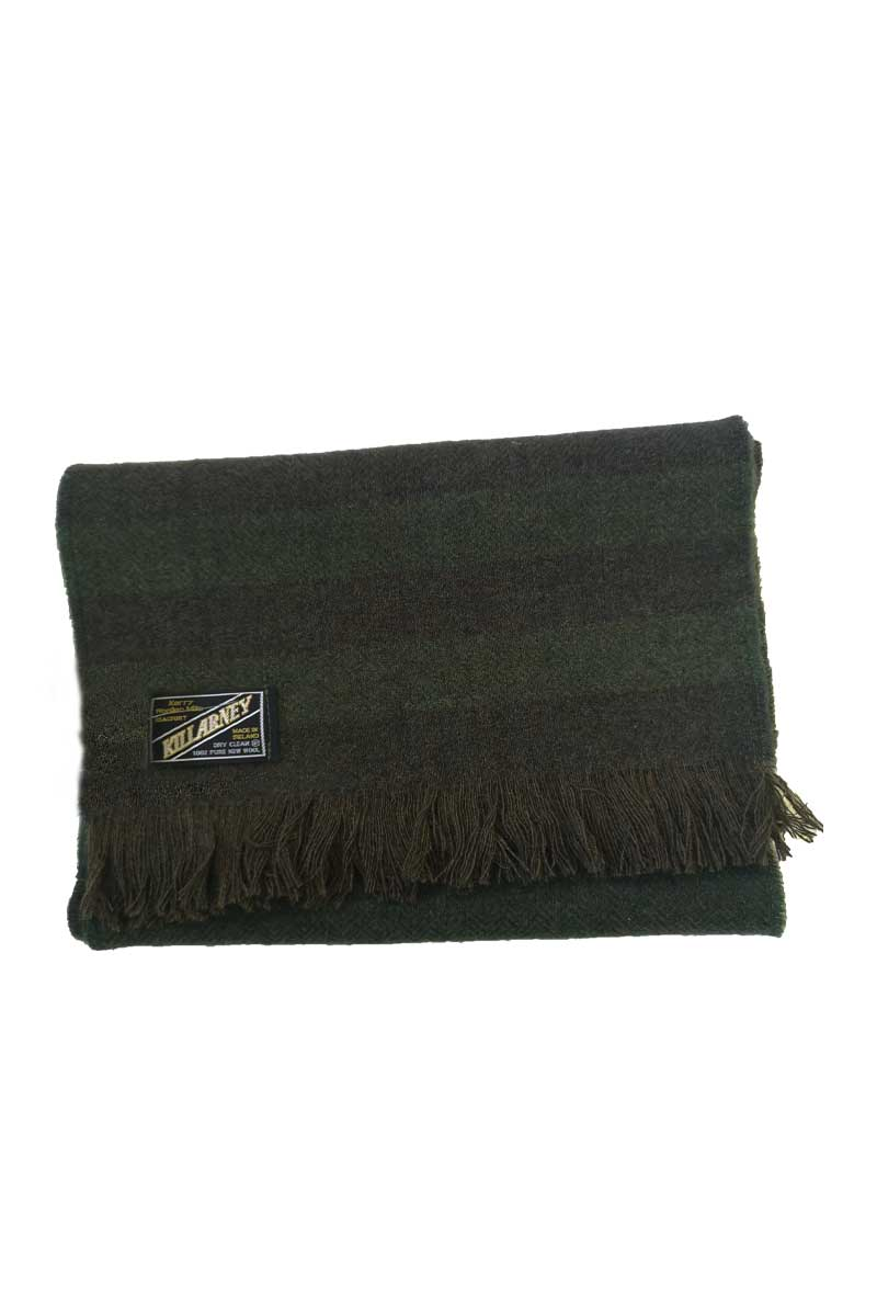 Kerry Mens Wool Scarf - Green Stripe Herringbone