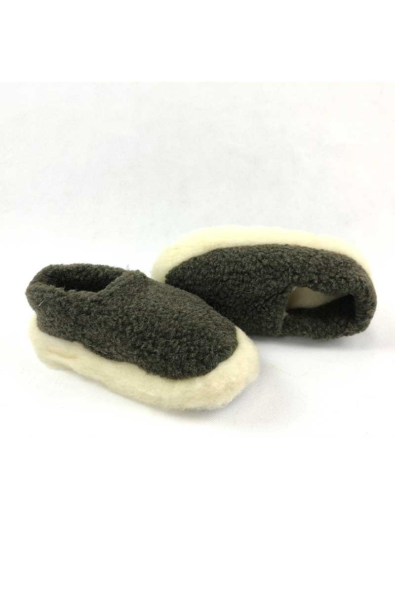 Irish Wool Slippers - Khaki Wool Slippers Yoko