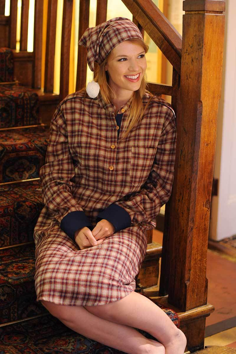 Nightshirt Irish Country Flannel Ladies - SF4 Claret Check Sleepwear Lee Valley Ireland
