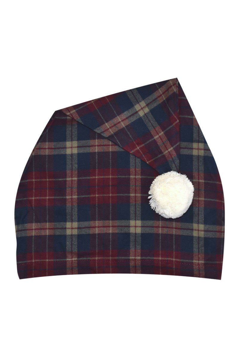 Nightcap Cotton Flannelette Ladies - Navy Maroon Check (LV10) Sleepwear Lee Valley Ireland