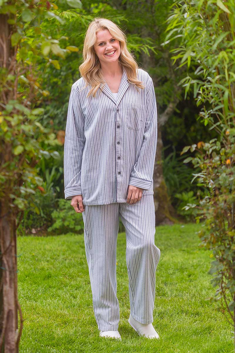 Flannel Pyjamas Blue/Ivory Stripe Ladies lv2