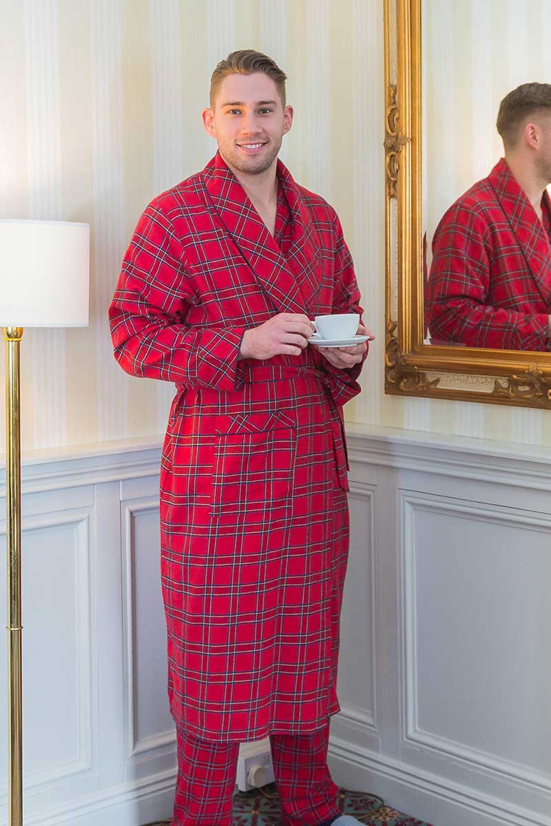 Nightrobe Mens Cotton Flannelette - Red Tartan Royal Stewart (LV27) - Lee Valley Ireland - 1