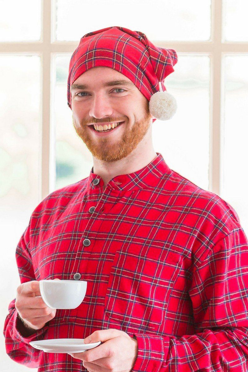 Nightcap Cotton Flannelette Mens - Red Tartan Royal Stewart (LV27) Sleepwear Lee Valley Ireland