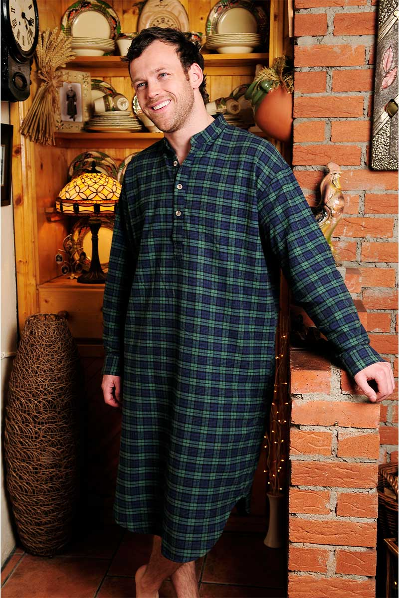Nightshirt Lee Valley Flannel Mens - LV6 Green Tartan- Blackwatch Sleepwear Lee Valley Ireland