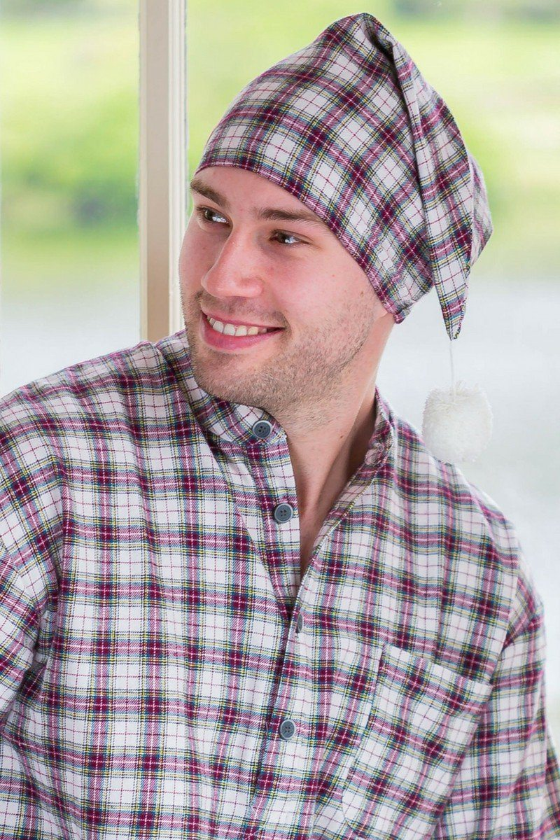 a993fd11c1 Nightcap Cotton Flannelette Mens - Maroon (LV7) - Lee Valley Ireland - 1 ...