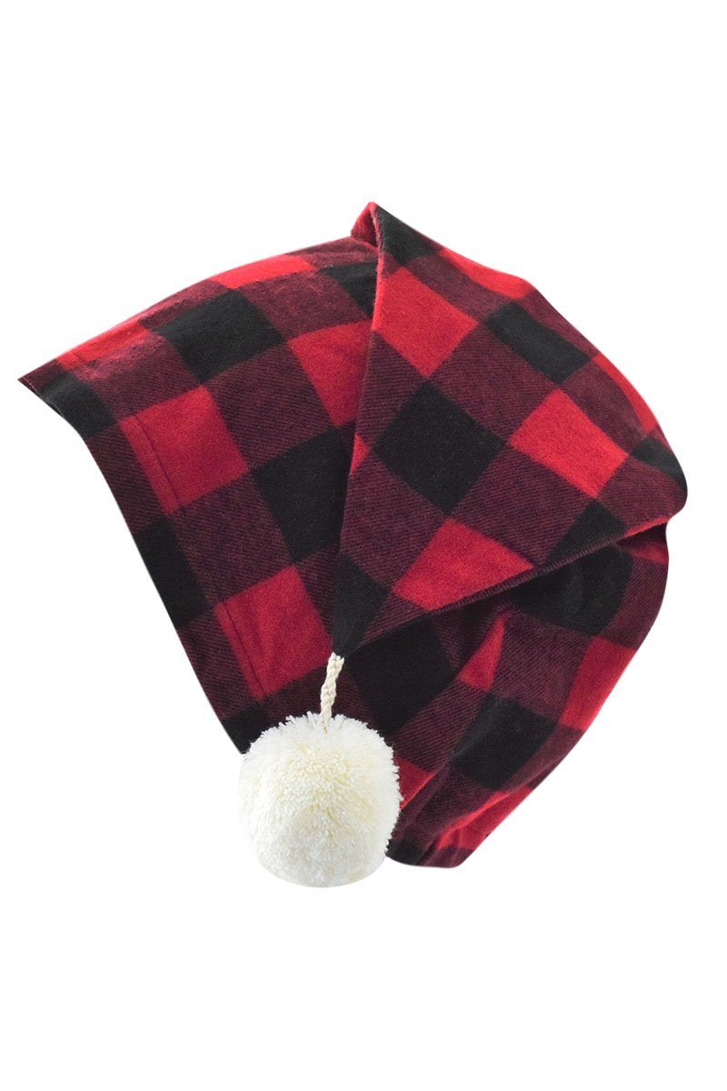 Nightcap Cotton Flannelette Mens - Red Black Check (LV9)