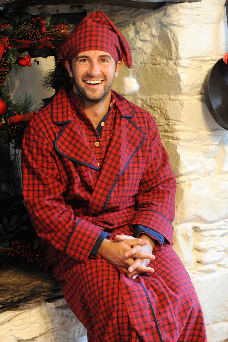 Nightrobe Irish Country Flannel Mens - SF2 Red Check Sleepwear Lee Valley Clothing