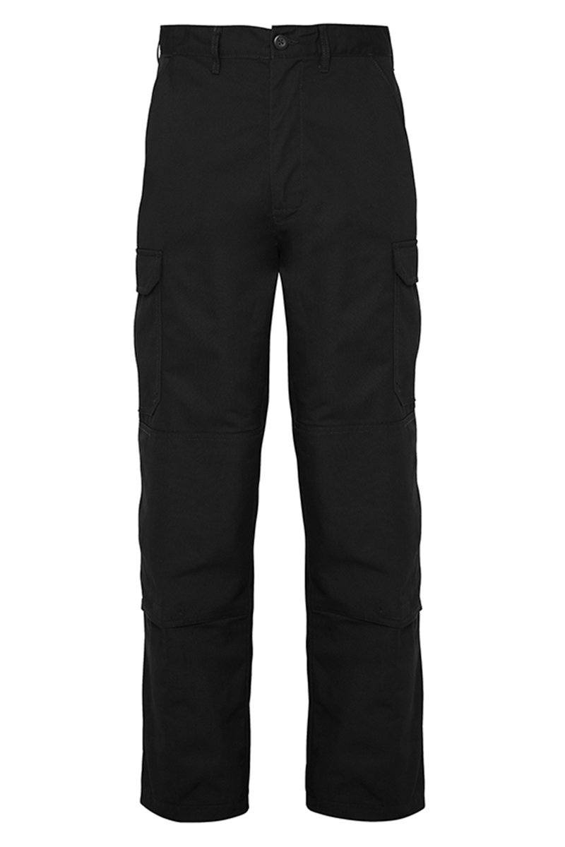 Mens Classic Cargo Trousers Black Front (RX600) 3