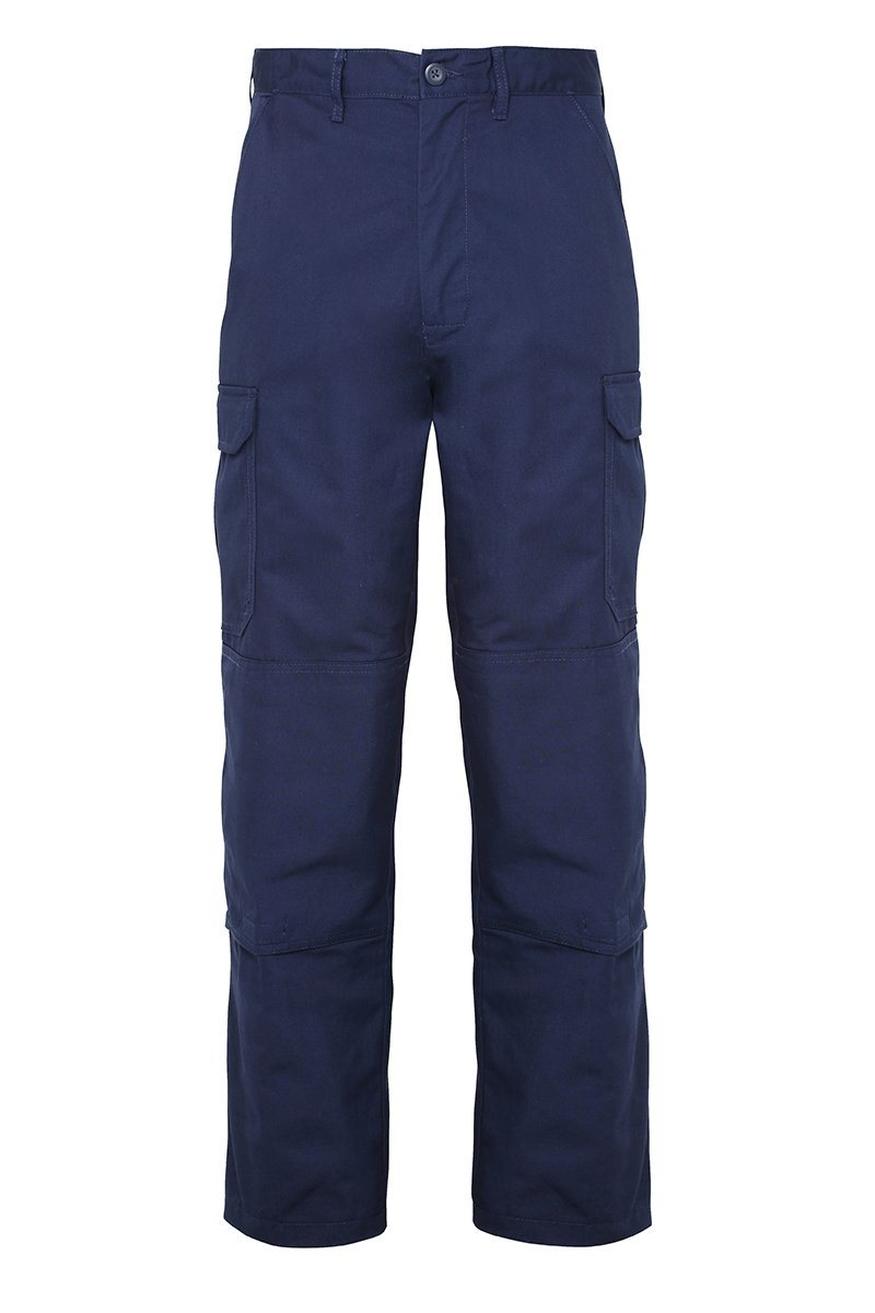 Mens Classic Cargo Trousers Navy Front (RX600) 5