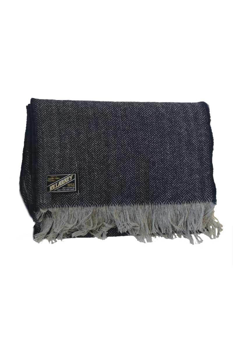 Kerry Mens Wool Scarf - Navy Herringbone