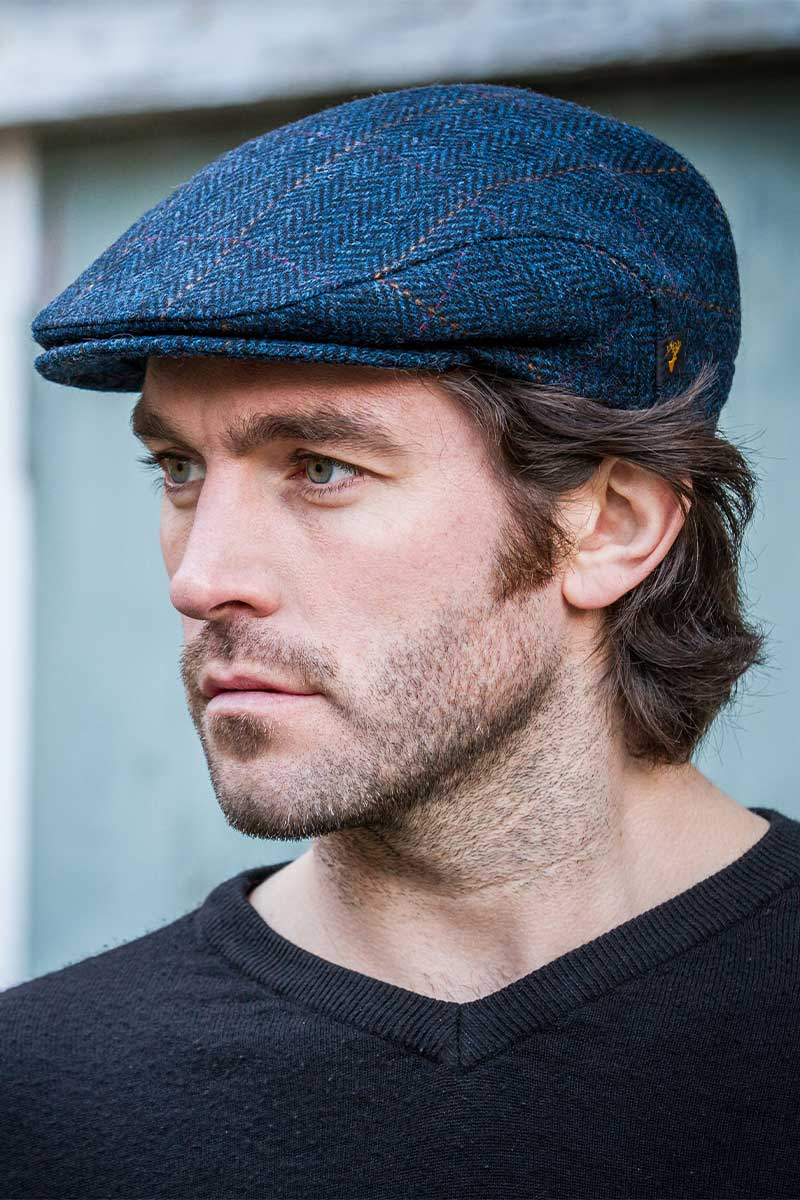 Irish Tweed Flat Cap- Navy Trinity Cap Mucros