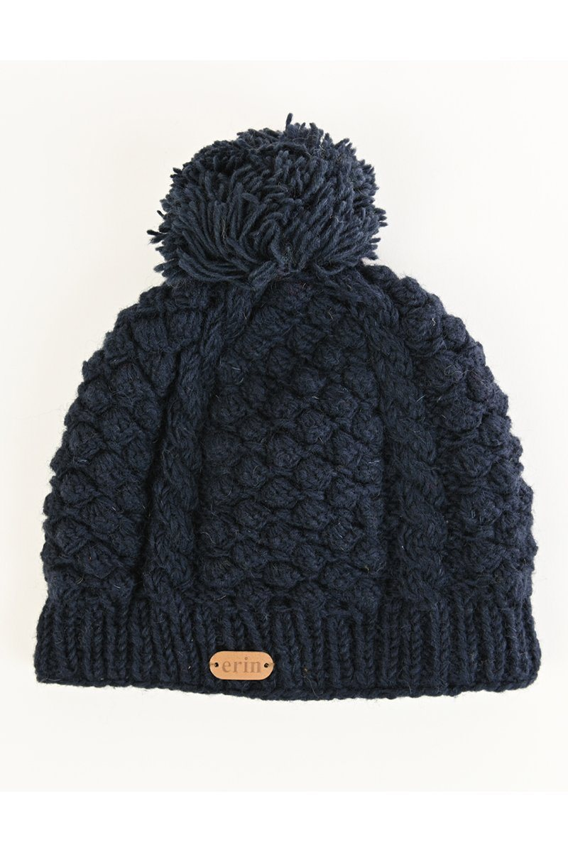 Erin Irish Wool Bobble Hat - Navy Caps Erin Knitwear