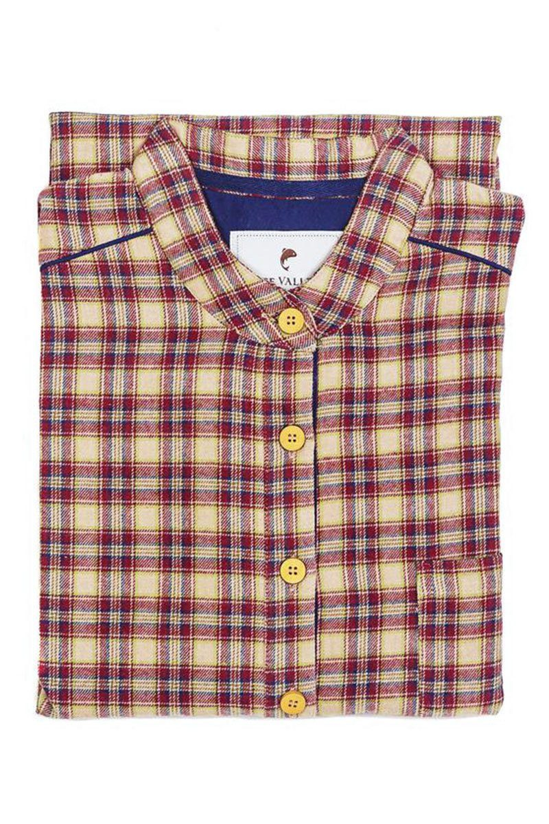 Nightshirt Irish Country Flannel Mens - SF4 Claret Check - Lee Valley Ireland - 5