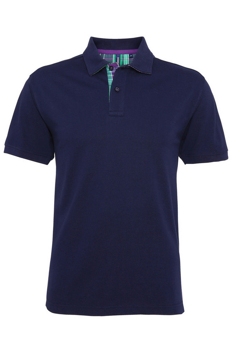 Check Trim Polo (AQ014) - Navy- Lee Valley Ireland - 1