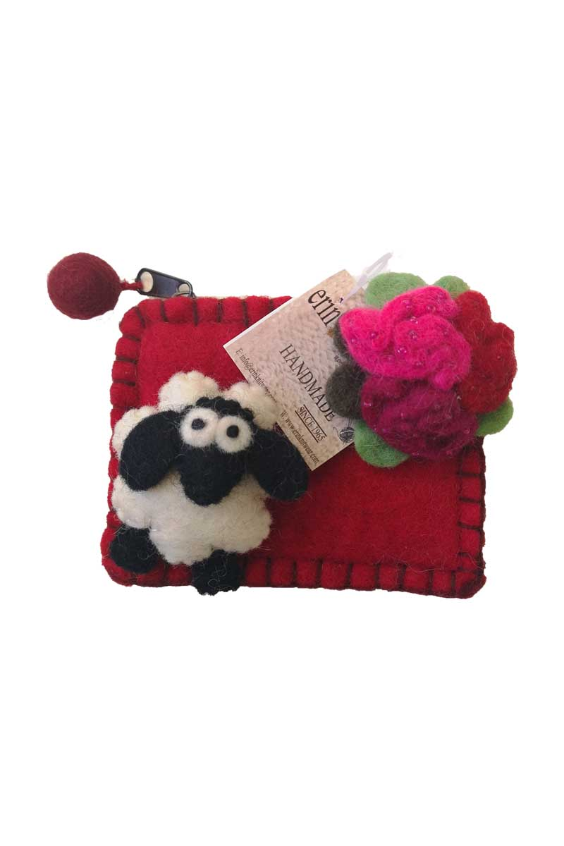 Erin Felt Wool Sheep Purse Bags Erin Knitwear Red