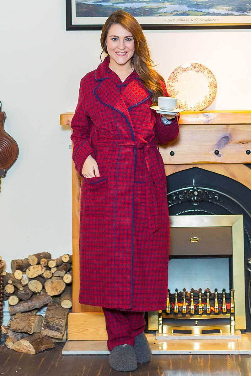 Nightrobe Irish Country Flannel Ladies - SF2 Red Check Sleepwear Lee Valley Clothing
