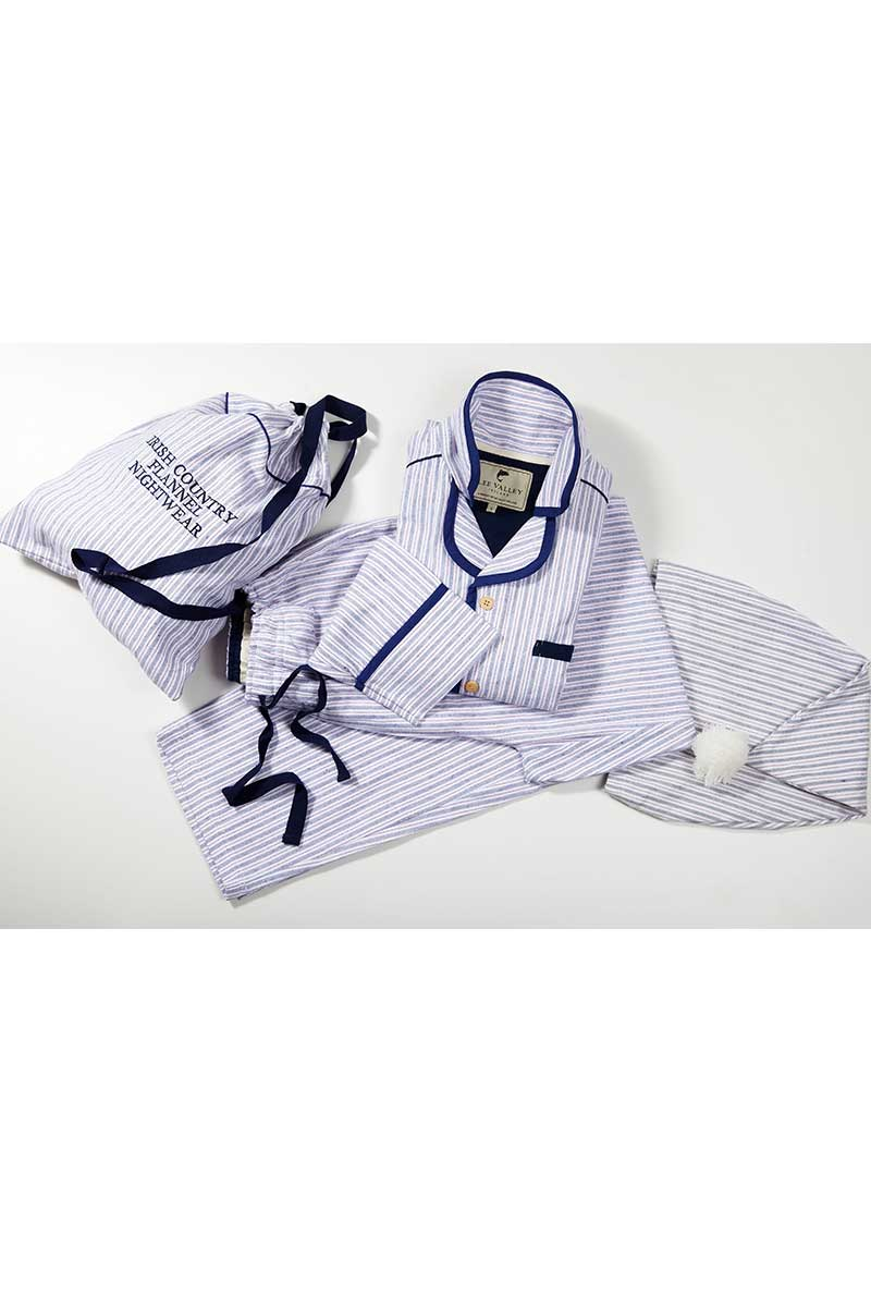 Navy/Cream/Red Stripe Nightwear Gift Set (SF3)