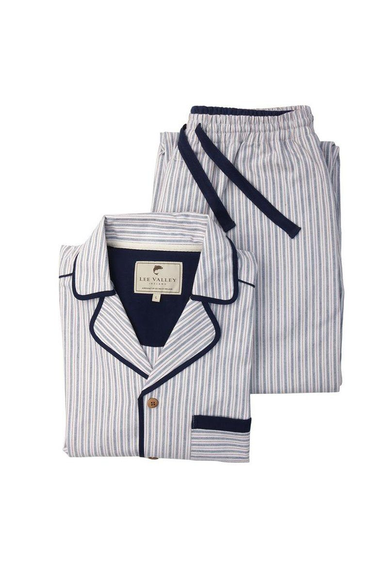 Pyjamas Irish Country Flannel Mens - SF3 Navy/Cream/Red Stripe Sleepwear Lee Valley Ireland